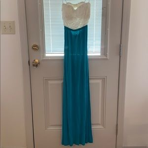 Ladies strapless maxi dress with lace top